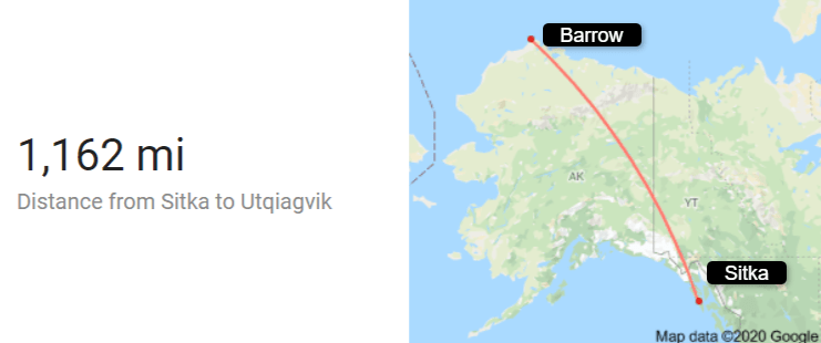 Map showing the 1,162 Mile Distance Between Sitka and Barrow Alaska