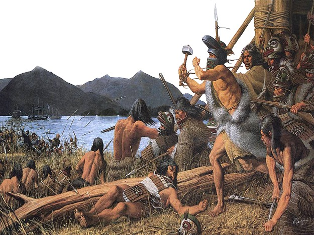 Painting of Tlingit and Russians fighting during the Battle of Sitka