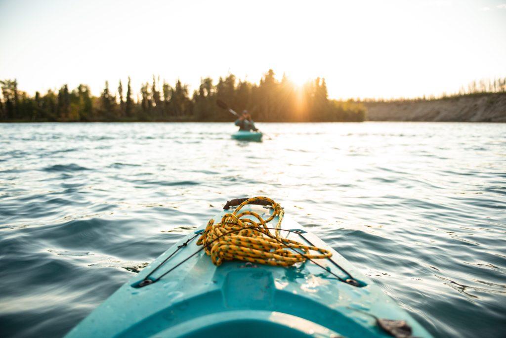 A kayak on a lake